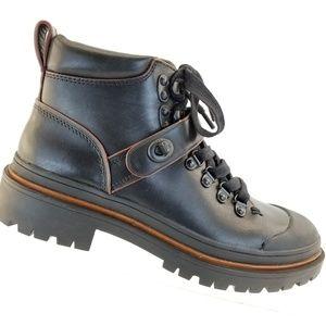 Coach Cedar Black Leather Men's Hiker Boots